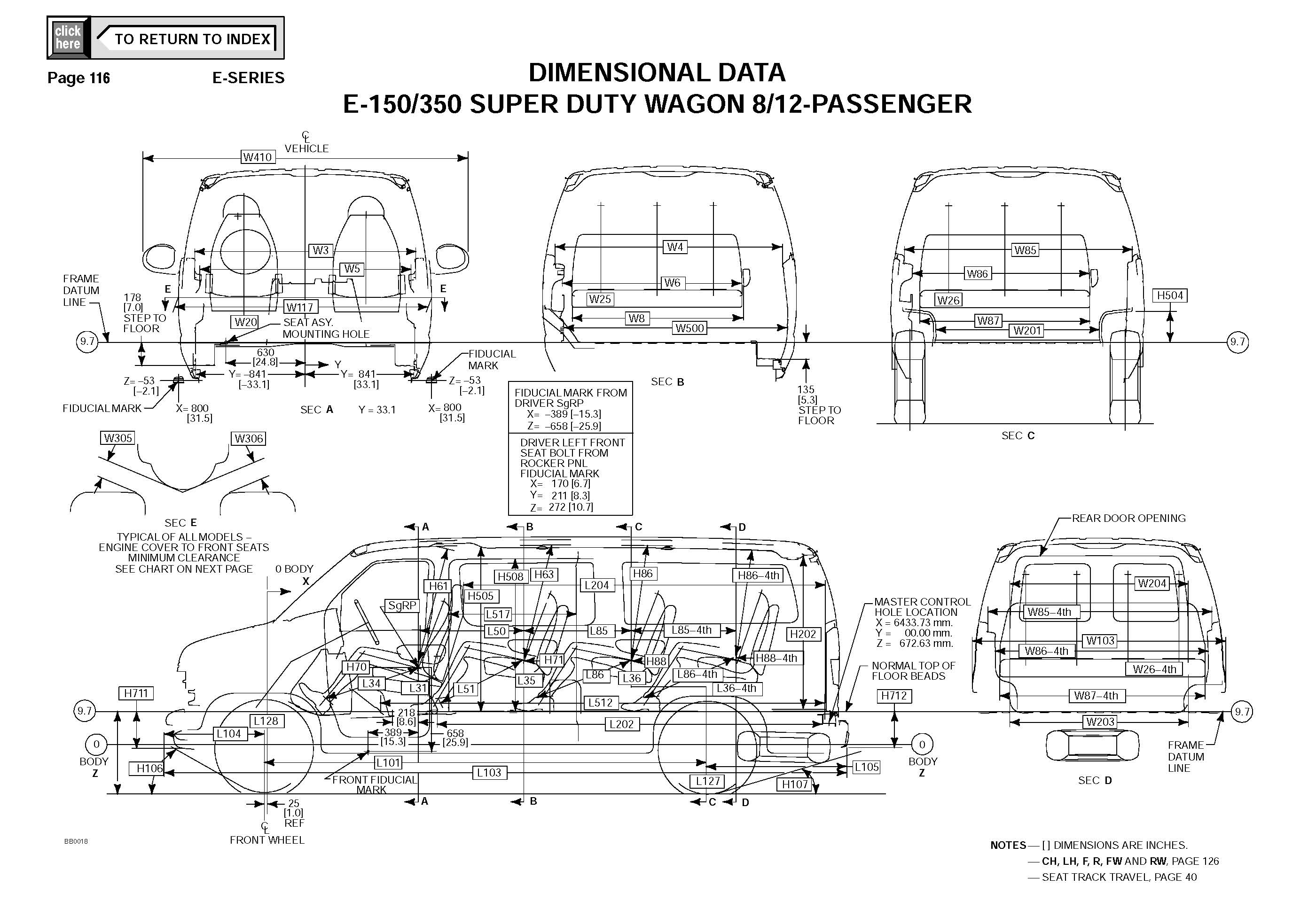 Ford Econoline E350 Van DIMENSIONAL DATA_Seite_1