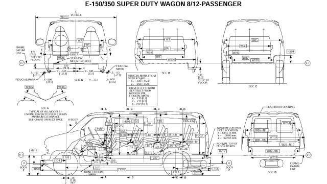 Ford Econoline E350 Van DIMENSIONAL DATA_Seite_1