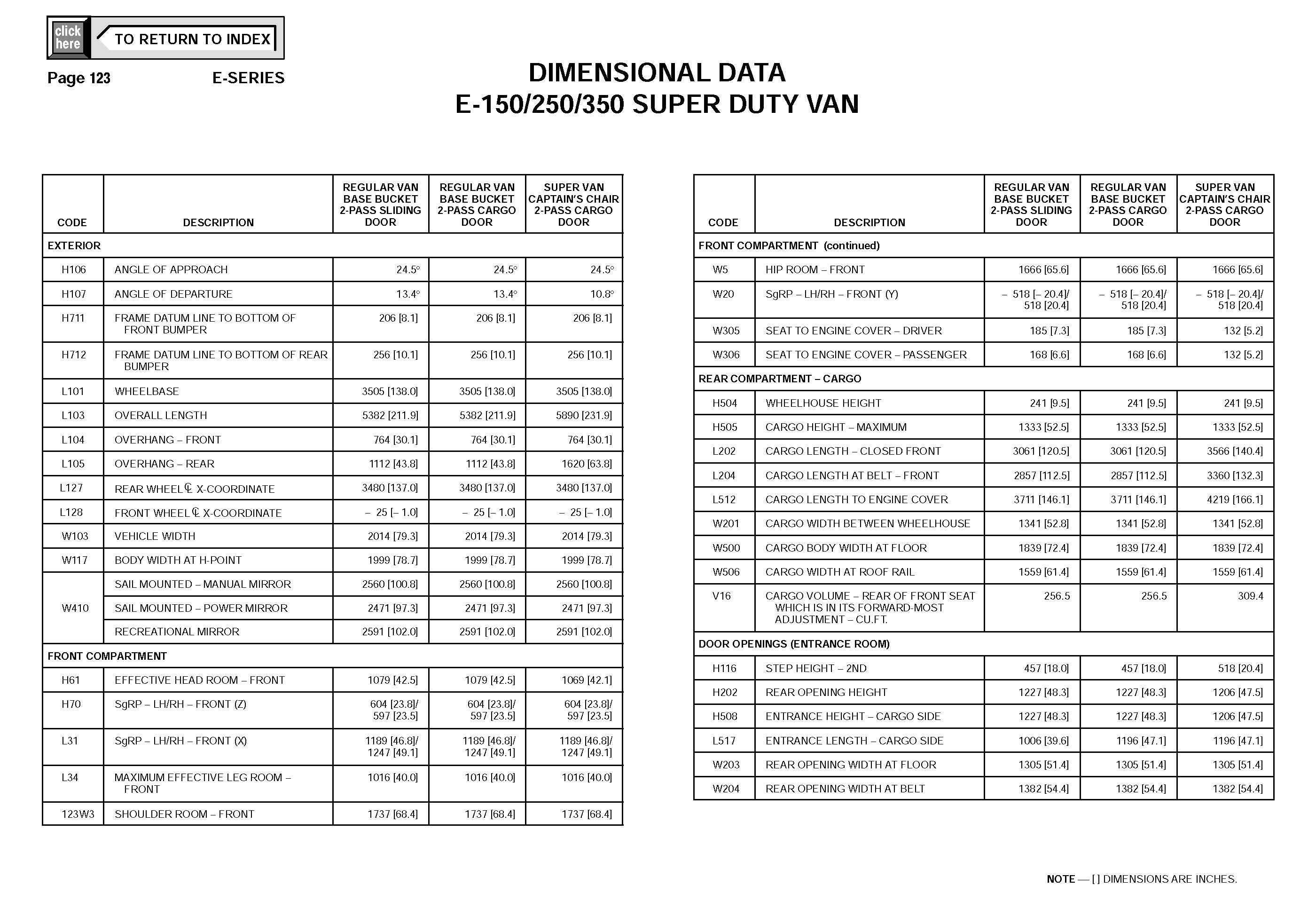 Ford Econoline E350 Van DIMENSIONAL DATA_Seite_8